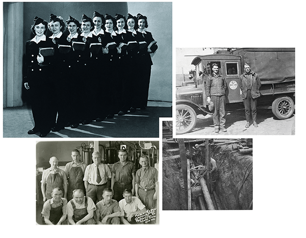 Collage of NiSource employees from 1915-1947