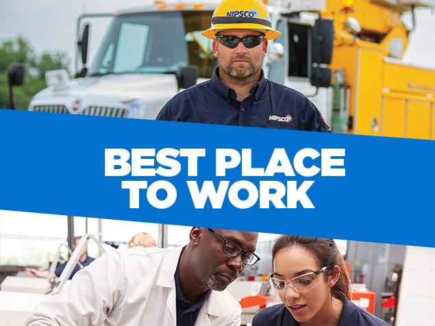 Collage of technician in hard hat standing in front of electric bucket truck and man in lab coat and woman with safety glasses looking down in training environment with the words 'best place to work' overlayed on blue background