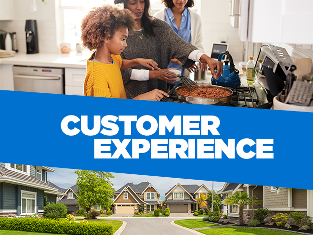 Collage of two women and a young girl in a kitchen cooking on the stove and neighborhood culdesac with the words 'customer experience' overlayed on blue background