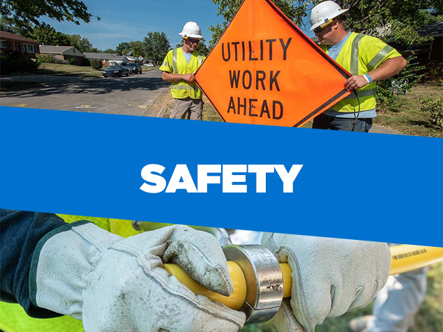 """Collage of two men holding orange sign that reads """"utility work ahead"""" and a gloved hands cutting yellow pipe with the word 'safety' overlayed on blue background"""