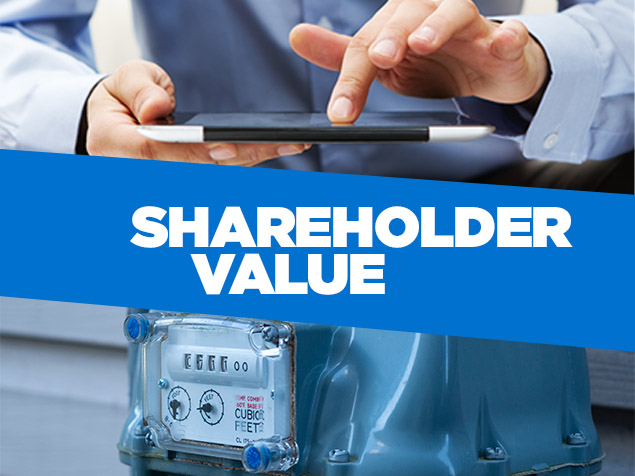 Collage of hands holding tablet and meter with the word 'shareholder value' overlayed on blue box