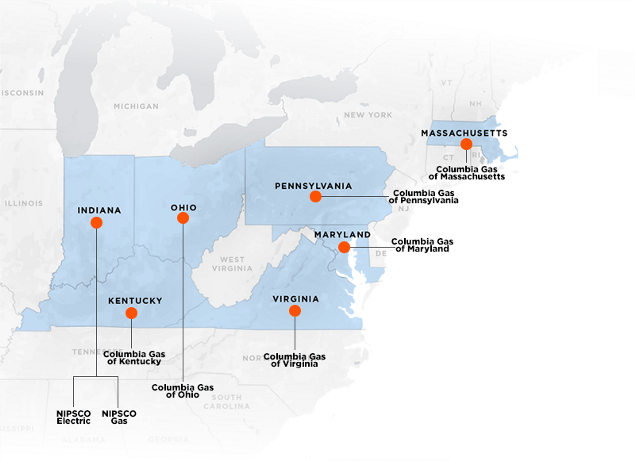 NiSource Service Territory Map with Operating Company Callouts