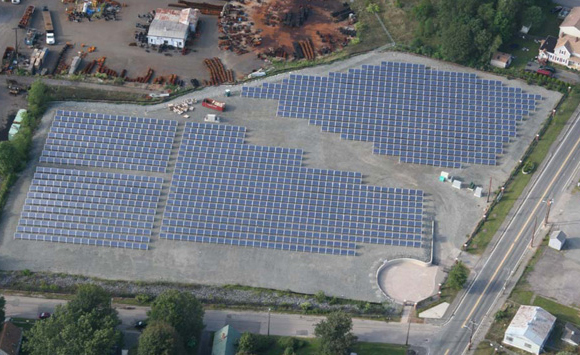 "A solar array on the former manufactured gas plant site in Brockton is called a ""brightfield"" because it's on a contaminated commercial site, or a ""brownfield."""