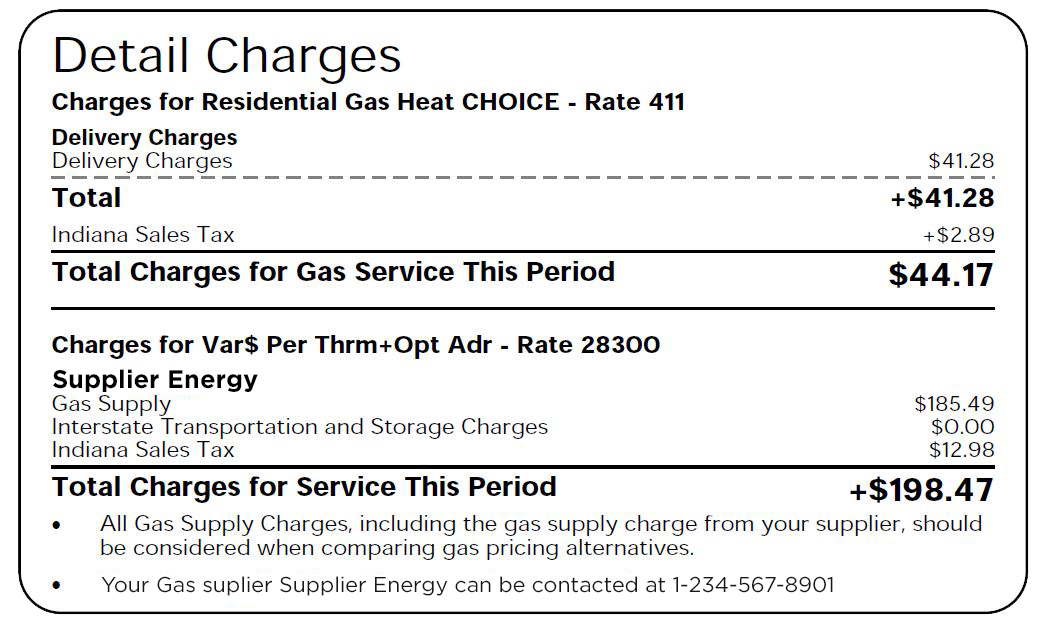 Screenshot of all charges listed on the Indiana utility bill