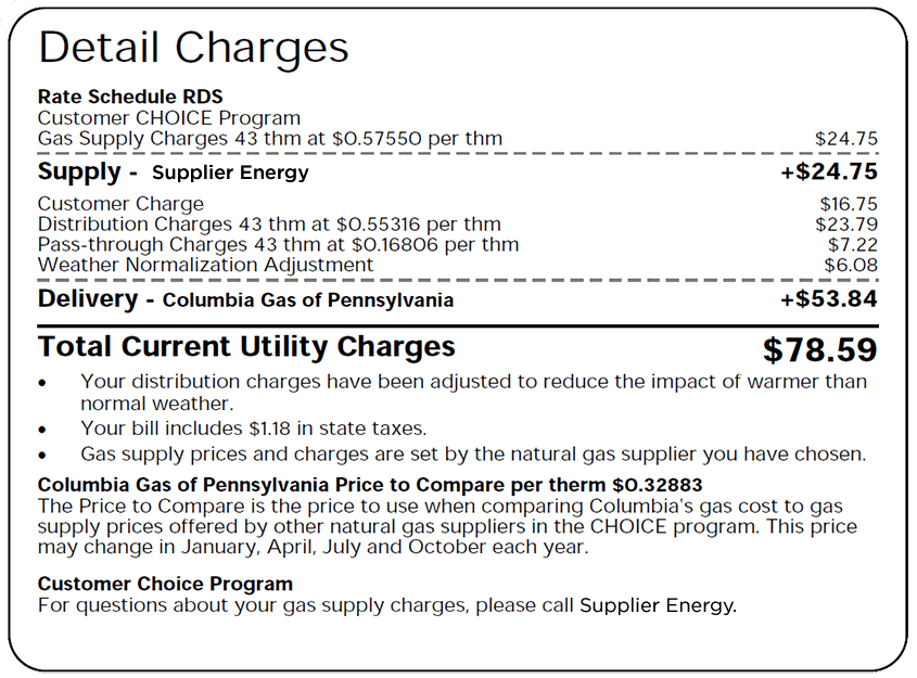 Screenshot of all charges listed on the Pennsylvania utility bill