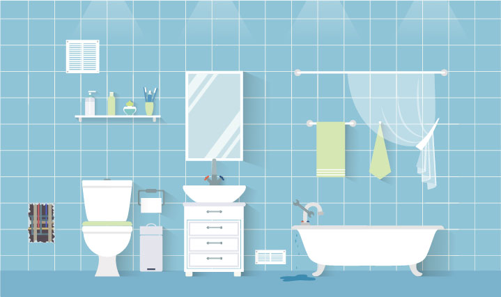 Blue bathroom with toilet, bathtub, vanity and various items hanging on the wall