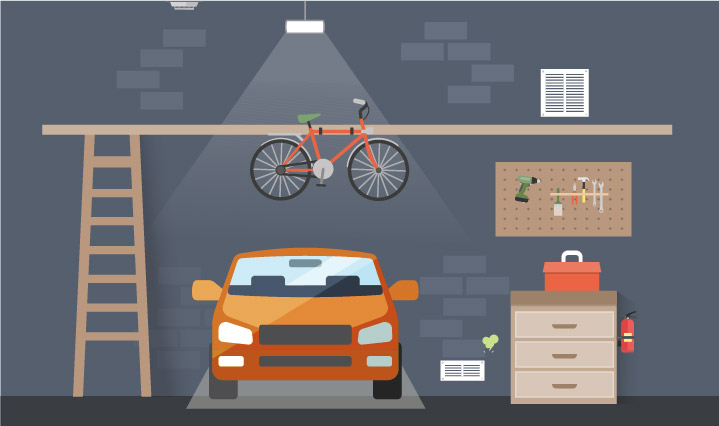 Orange parked inside garage with various items hung on the wall