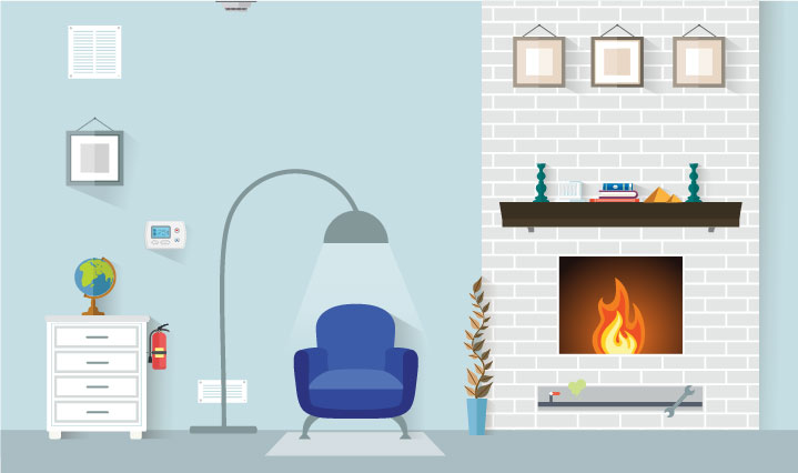 Living room with light blue walls and fireplace