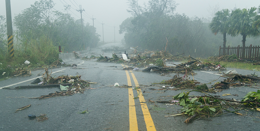 Storm damage in road