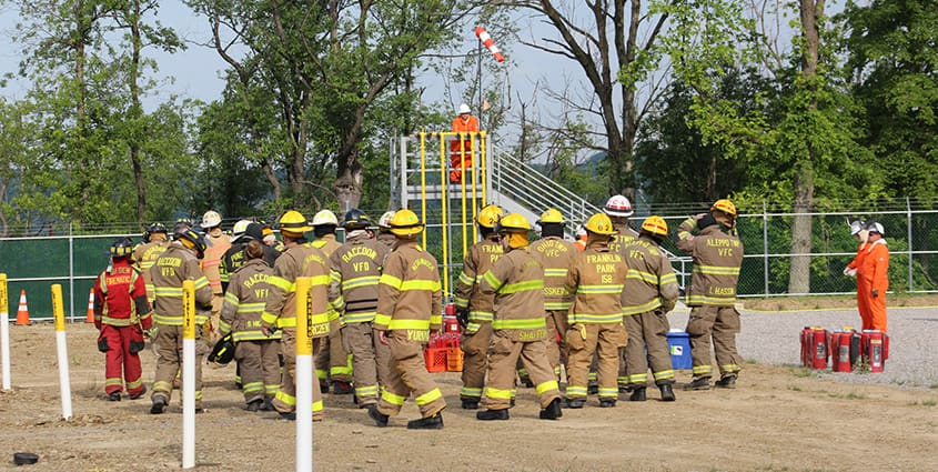 Emergency responders at training center