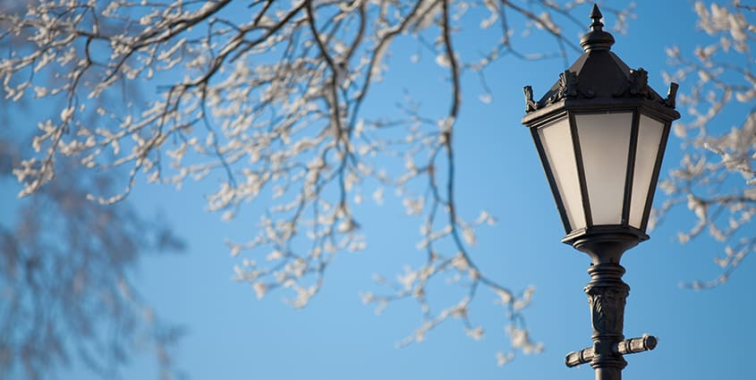Street light against sky